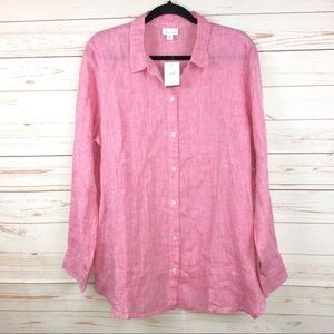 J.Jill Just Linen Pink Button Down Shirt Sz LT NWT